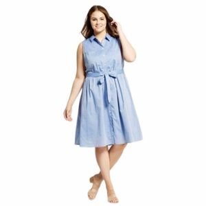 Who What Wear Sleeveless Belted Shirt Dress Blue